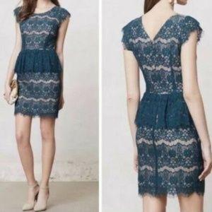 Maeve Anthropologie Elsa Peplum Lace sheath dress